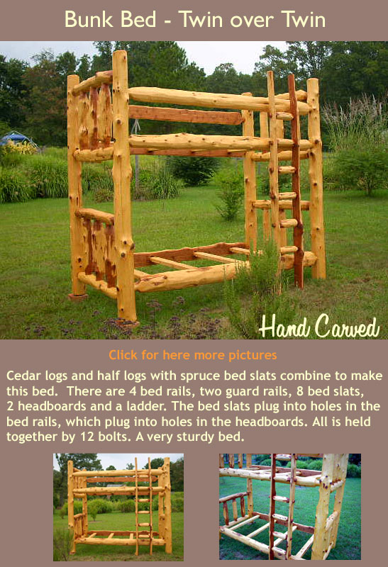Cedar logs and half logs with spruce bed slats combine to make this bed.  There are 4 bed rails, two guard rails, 8 bed slats, 2 headboards and a ladder. The bed slats plug into holes in the bed rails, which plug into holes in the headboards. All is held together by 12 bolts. A very sturdy bed. This piece sold for $1200