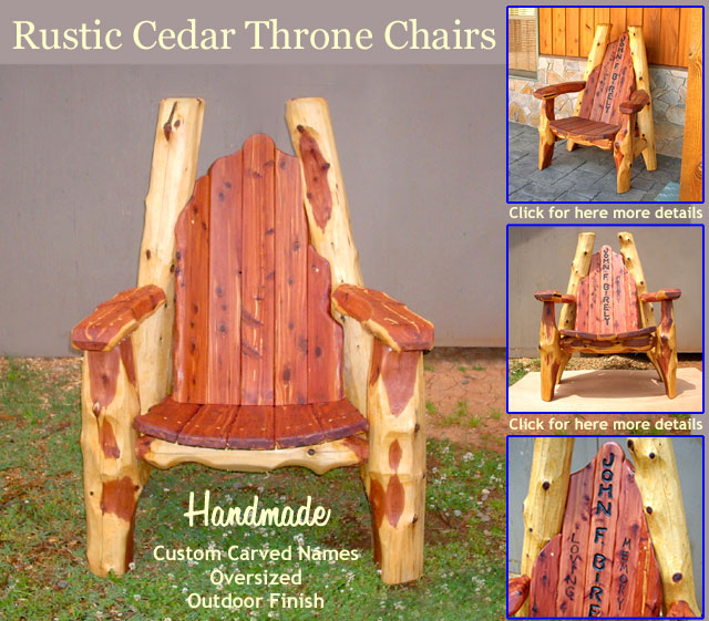 For details and views of other Throne Chair designs, details, and pricing please click on the image